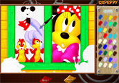Minnie with Chip and Dale Online Coloring Game